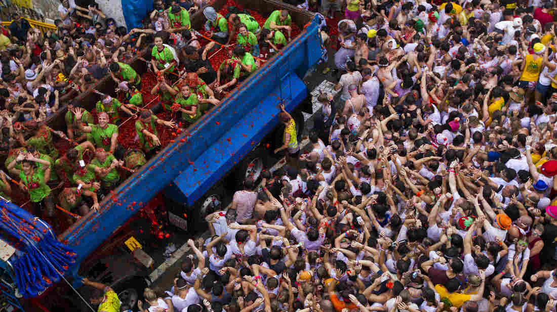 Ammunition in the form of tomatoes are thrown to a crowd gathered for the annual Tomatina Festival in Bunol, Spain, near Valencia, Wednesday.