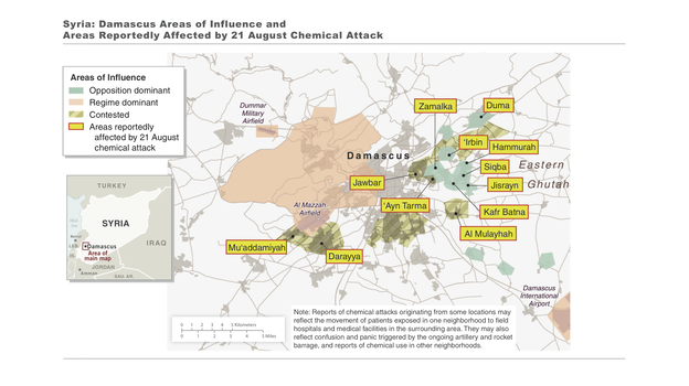 The areas where the U.S. says Syria used chemical weapons. (White House)