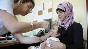 In early August, Israel launched a mass campaign to vaccinate children against polio, including this little girl at a clinic in Rahat.