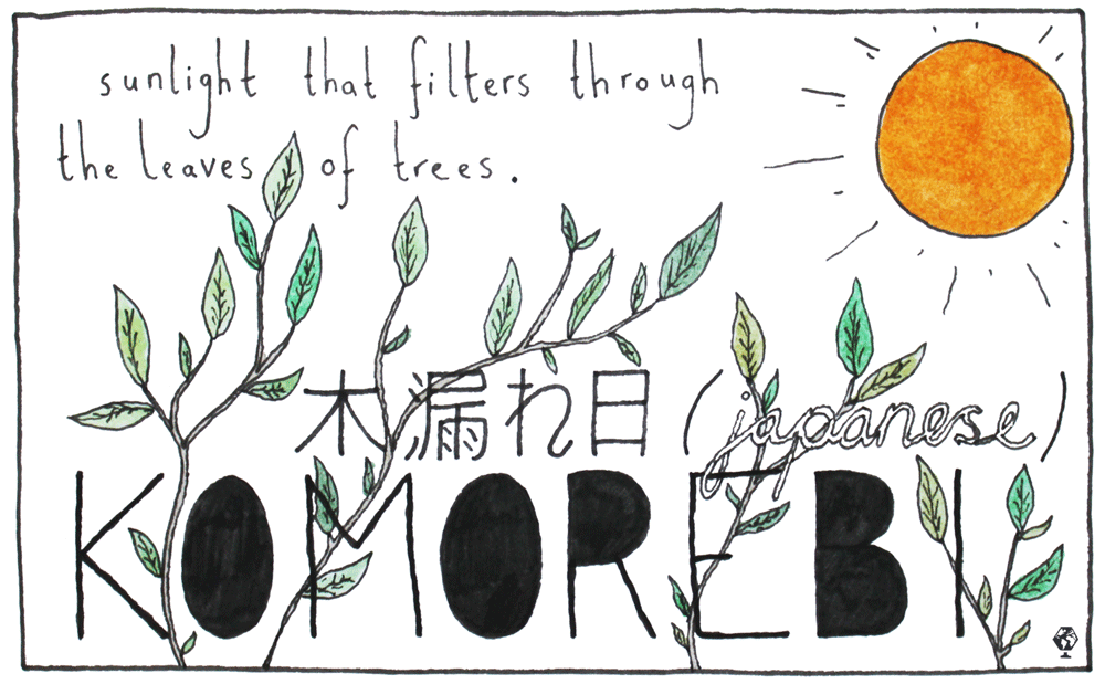 This is the word the Japanese have for when sunlight filters through the trees — the interplay between the light and the leaves.