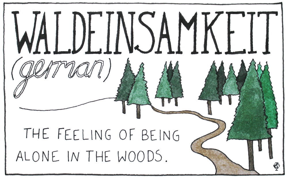 A feeling of solitude, being alone in the woods and a connection to nature.