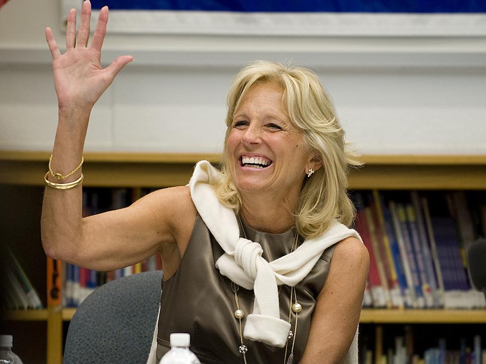 Jill Biden thanks teachers during a 2010 meeting at Ft. Belvoir Elementary School in Virginia.