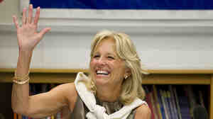 Jill Biden thanks teachers during a 2010 meeting at Ft. Belvoir Elementary School in Virginia.
