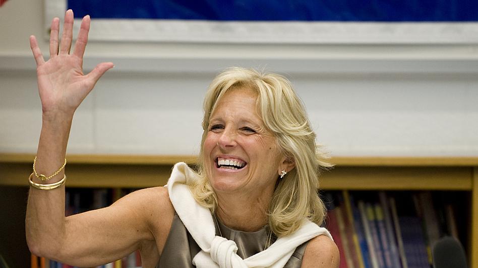 Jill Biden thanks teachers during a 2010 meeting at Ft. Belvoir Elementary School in Virginia. (ASSOCIATED PRESS)