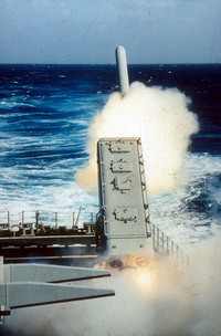 Tomahawk Cruise missile being fired from a U.S. Navy ship in the Persian Gulf during Desert Storm Operation, Feb. 20, 1991.