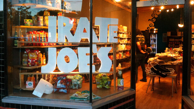 """I bought the stuff at full retail. I own it,"" says Michael Hallatt, owner of the _irate Joe's grocery in Vancouver. His store faces a lawsuit from Trader Joe's for infringing on its trademark and possibly confusing customers."