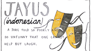 Indonesian slang for someone who tells a joke so badly, that is so unfunny you cannot help but laugh out loud.