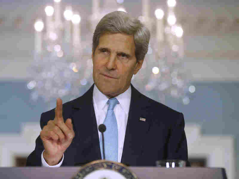 Secretary of State John Kerry speaks Friday at the State Department.