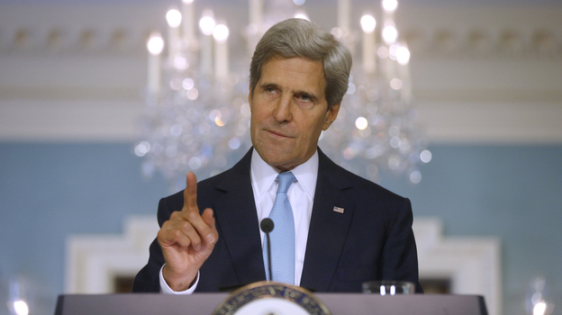 Secretary of State John Kerry speaks Friday at the State Department. (AP)