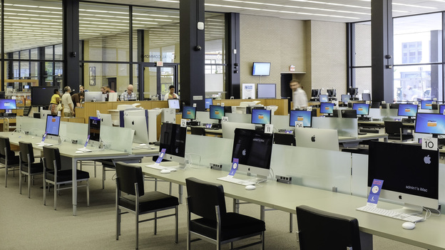 The Martin Luther King Jr. Memorial Library in Washington, D.C., has opened a Digital Commons that features rows of desktop computers, portable electronic devices and even a 3D printer. (DC Public Library/The Freelon Group)