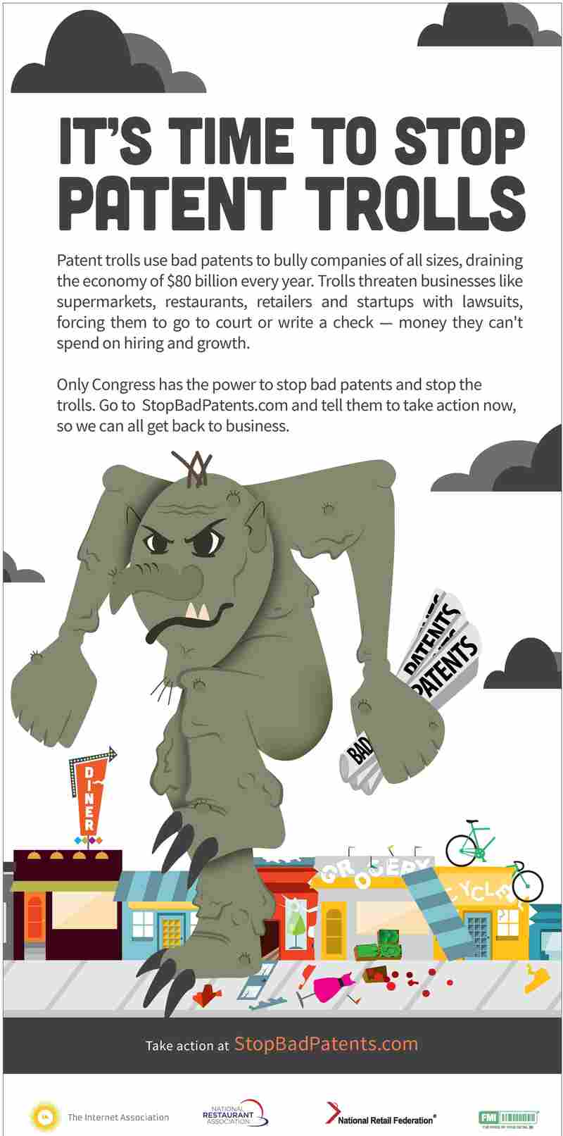 A group of technology and retail groups is beginning a national ad campaign targeting so-called patent trolls.