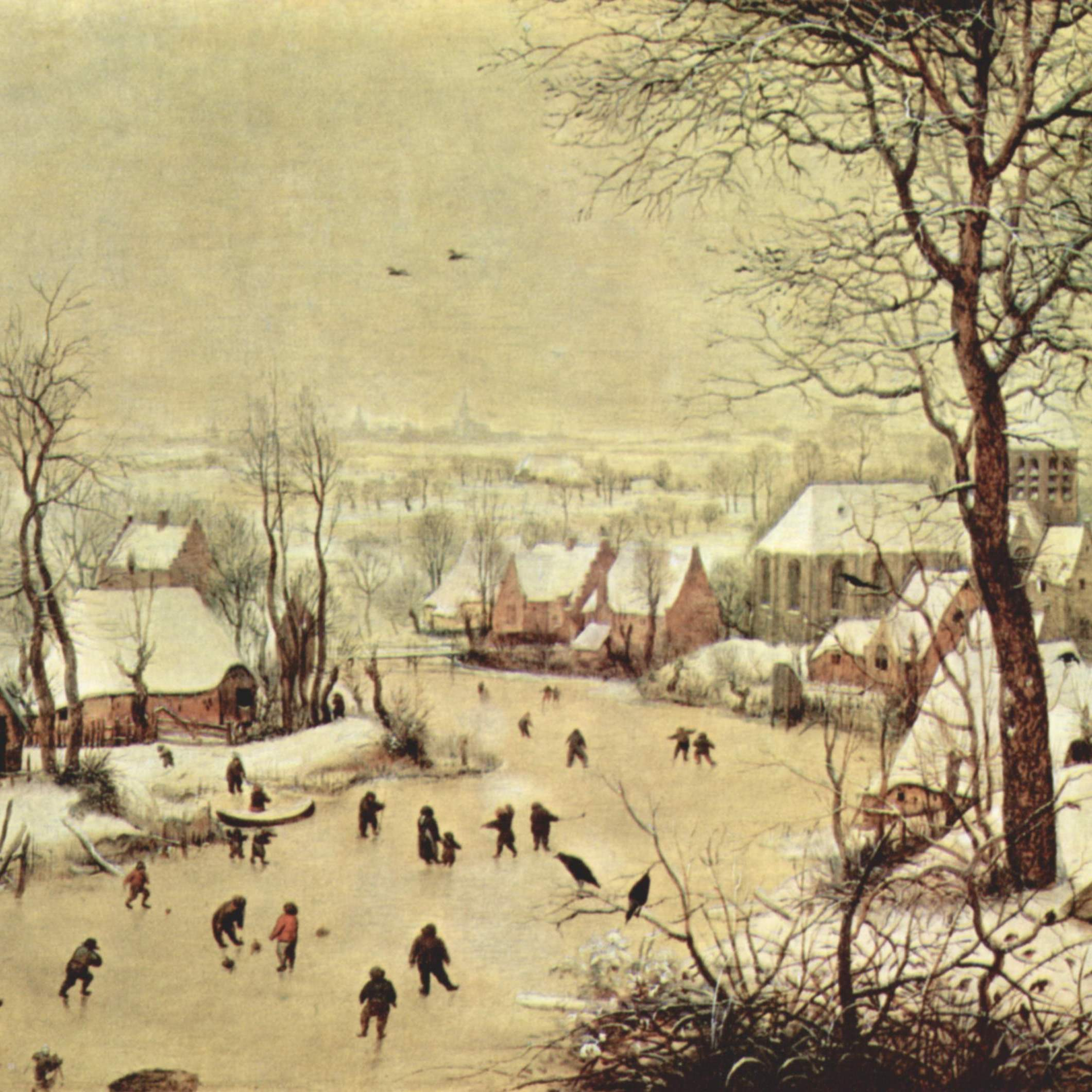 Pieter Bruegel's Winterlandscape with Skaters and Bird Trap, 1565, depicts the snowy, cold winters Europe experienced during the Little Ice Age.