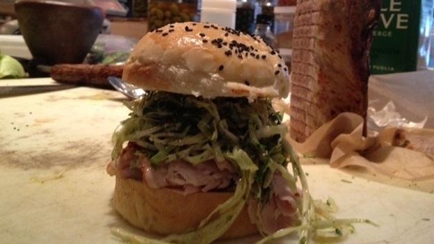 Matt Jennings' pork loin sandwich. (NPR)