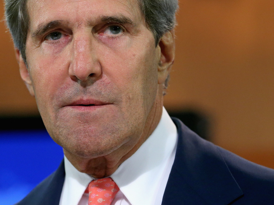 U.S. Secretary of State John Kerry delivers a statement about the use of chemical weapons in Syria at the Department of State last week.