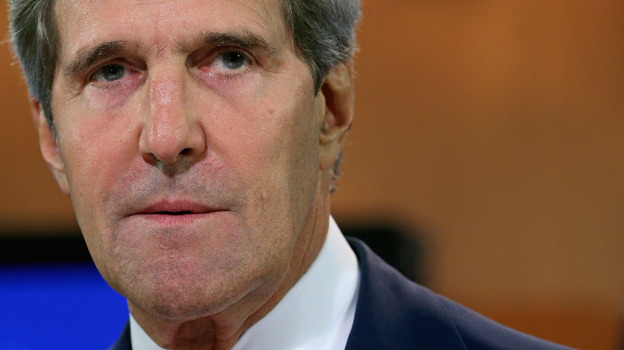 U.S. Secretary of State John Kerry delivers a statement about the use of chemical weapons in Syria at the Department of State last week. (Getty Images)