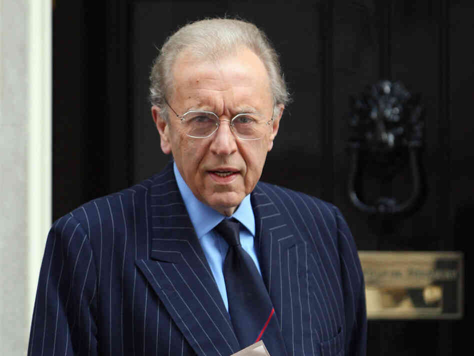 Sir David Frost arrives at London's Downing Street in April
