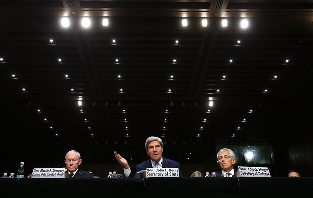 Chairman of the Joint Chiefs of Staff Gen. Martin Dempsey, Secretary of State John Kerry, and Defense Secretary Chuck Hagel testify before the Senate Foreign Relations Committee on Tuesday.