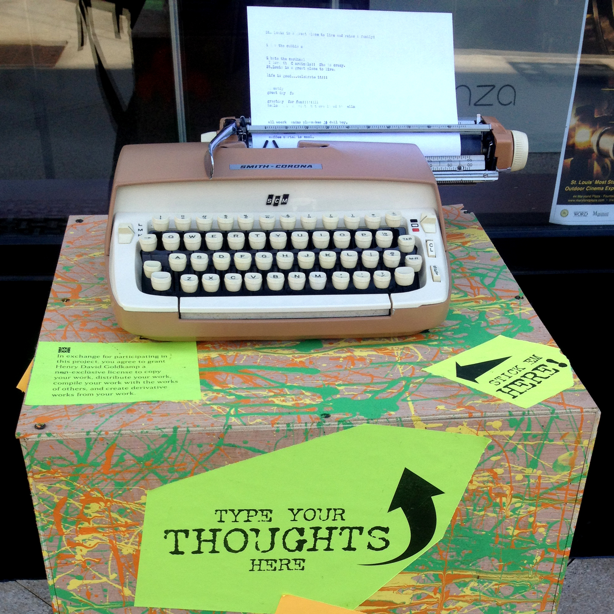 "A typewriter for the ""What The Hell Is St. Louis Thinking?"" project sits in the city's Central West End neighborhood. Poet Henry Goldkamp wants passers-by to stop and share their thoughts -- without the luxury of a ""delete"" key."