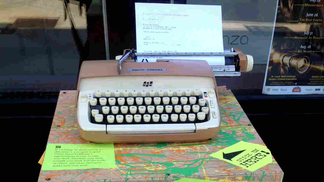 """A typewriter for the """"What The Hell Is St. Louis Thinking?"""" project sits in the city's Central West End neighborhood. Poet Henry Goldkamp wants passers-by to stop and share their thoughts — without the luxury of a """"delete"""" key."""