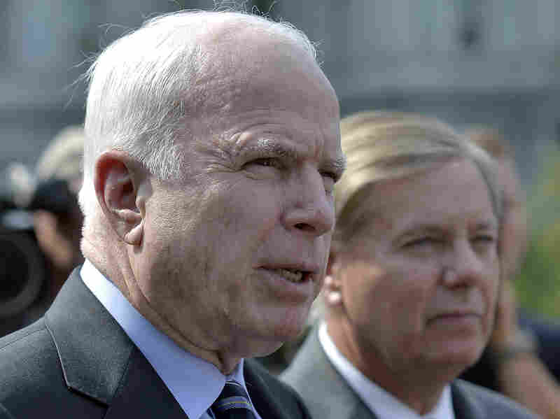 Sen. John McCain, R-Ariz., and Sen. Lindsey Graham, R-S.C., met with President Obama on Sunday at the White House.