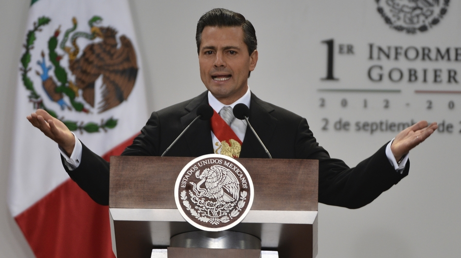 Mexican President Enrique Pena Nieto presents his first annual report to the nation during a ceremony before the Congress at his presidential residence in Mexico City on Monday. (AFP/Getty Images)