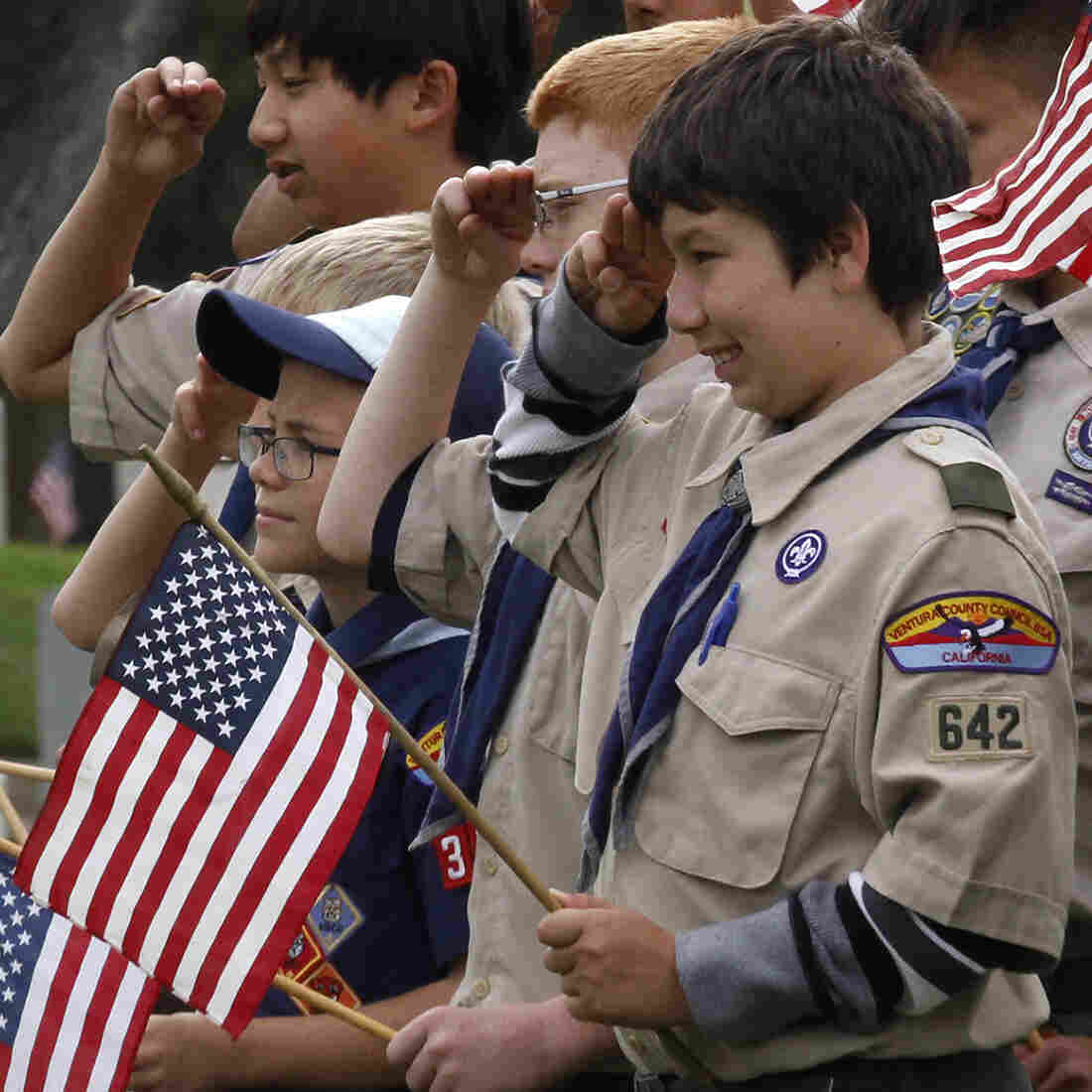 Boy Scouts attend a Memorial Day event in Los Angeles in May. A bill under consideration by the California Legislature would take away the tax-exempt status of the Boy Scouts of America.