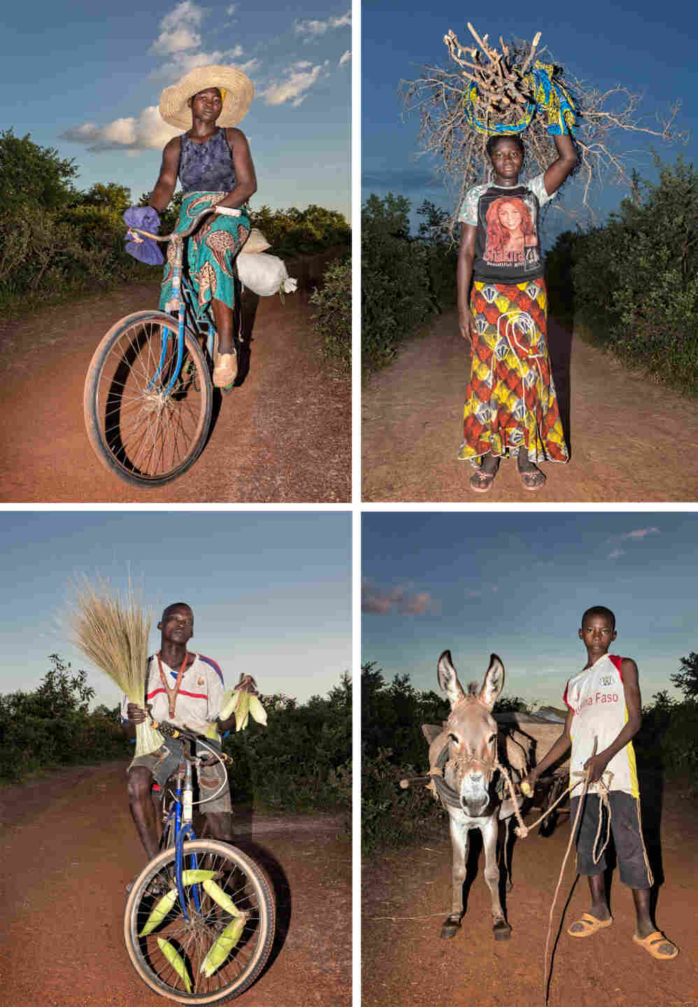 Sur La Route, a series by David Pace in Burkina Faso, documents people on their way home from work.