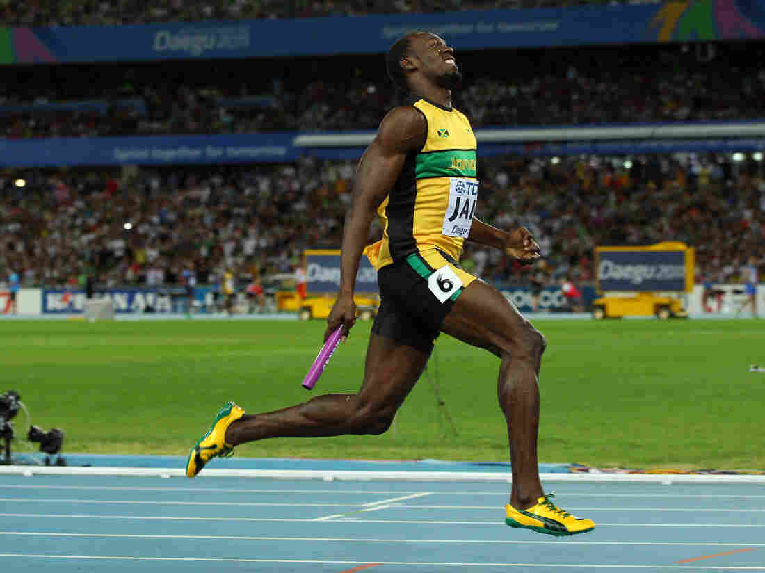 Usain Bolt of Jamaica sprints to victory and a new world record in the men's 4x100 meter relay at the 2011 IAAF World Athletics Championships in Daegu, South Korea.
