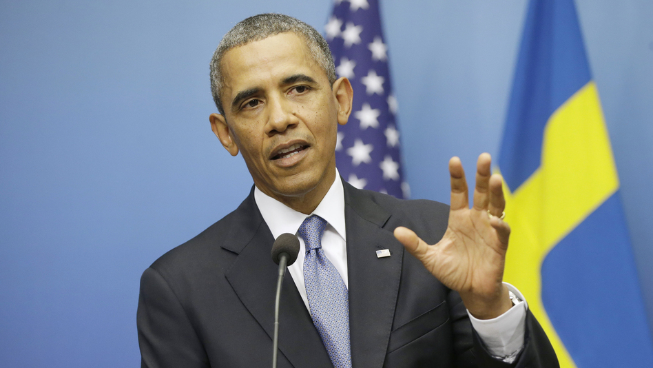 President Obama gestures during his joint news conference with Swedish Prime Minister Fredrik Reinfeldt on Wednesday in Stockholm. The president said the credibility of the international community, Congress and America is on the line with the response to Syria. (AP)