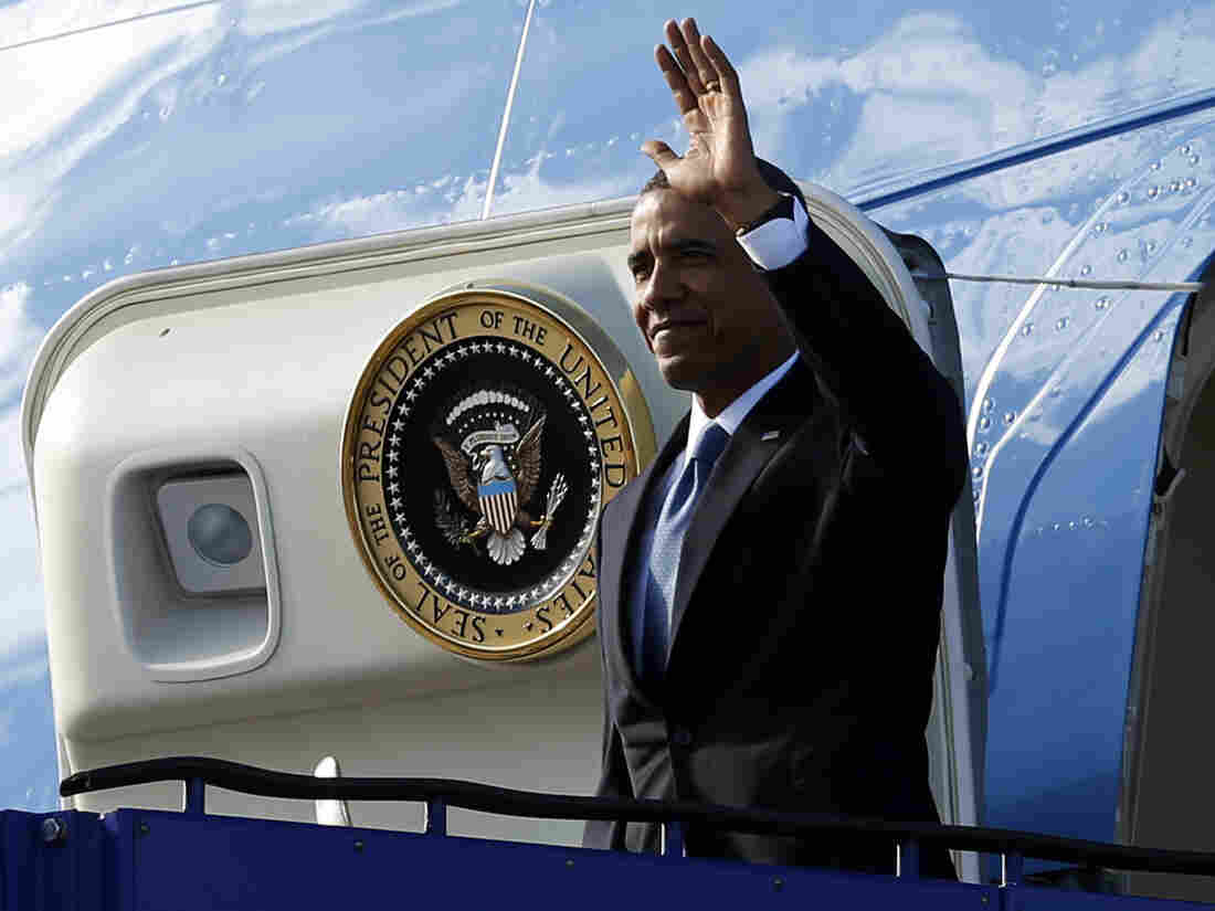 President Obama as he emerged from Air Force One early Wednesday in Stockholm.