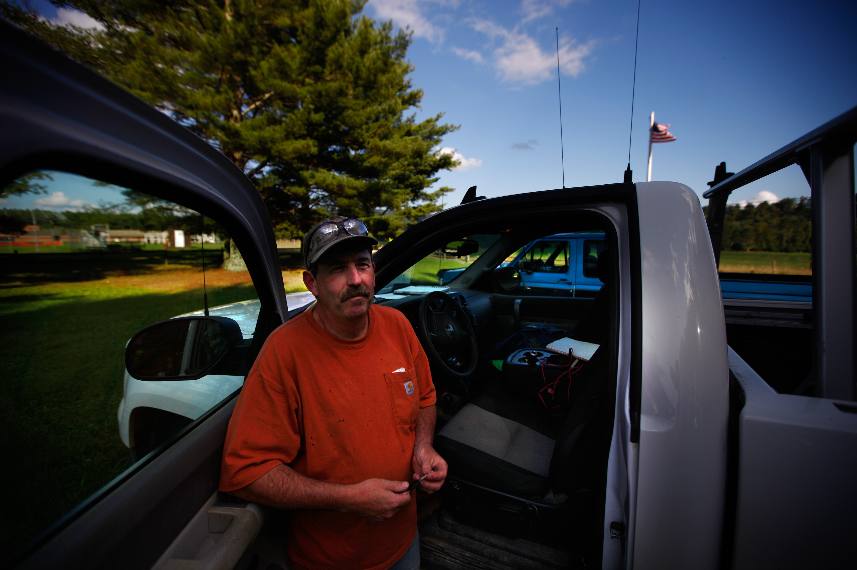 Pat Schaffner stands outside the Green Bank Public Library. He and some other area residents stay in touch by ham radio.