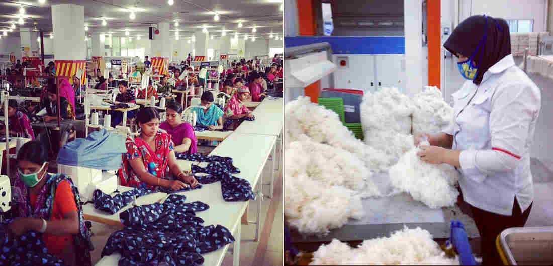 A jeans factory in Chittagong, Bangladesh (left), and a yarn-spinning factory in Purwakarta, Indonesia (right)