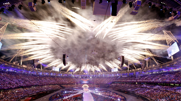 Fireworks at closing ceremony of the 2012 Summer Olympics in London. (AP)