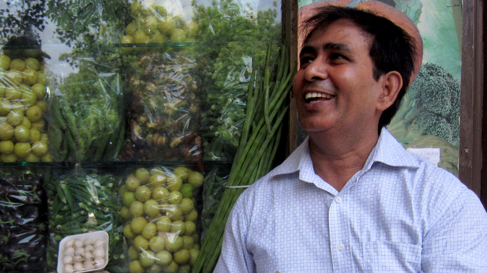 "Gulal Yadav, a vendor, said, ""There ought to be a change in government because everything's too expensive."""