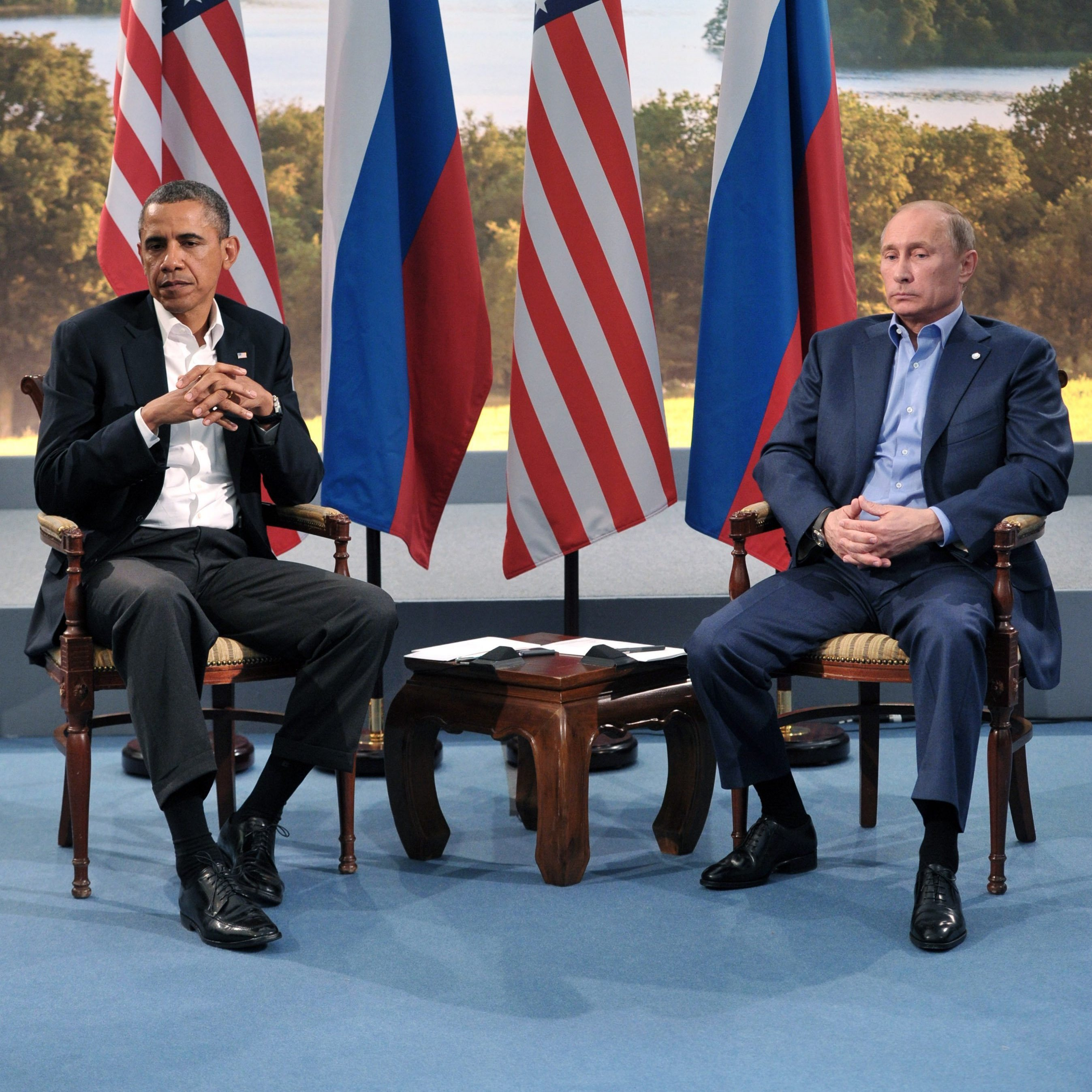 At June's G-8 Summit in Northern Ireland, Russian President Vladimir Putin and President Obama sat for some awkward photos. In St. Petersburg, they'll be several seats apart during the formal discussions.