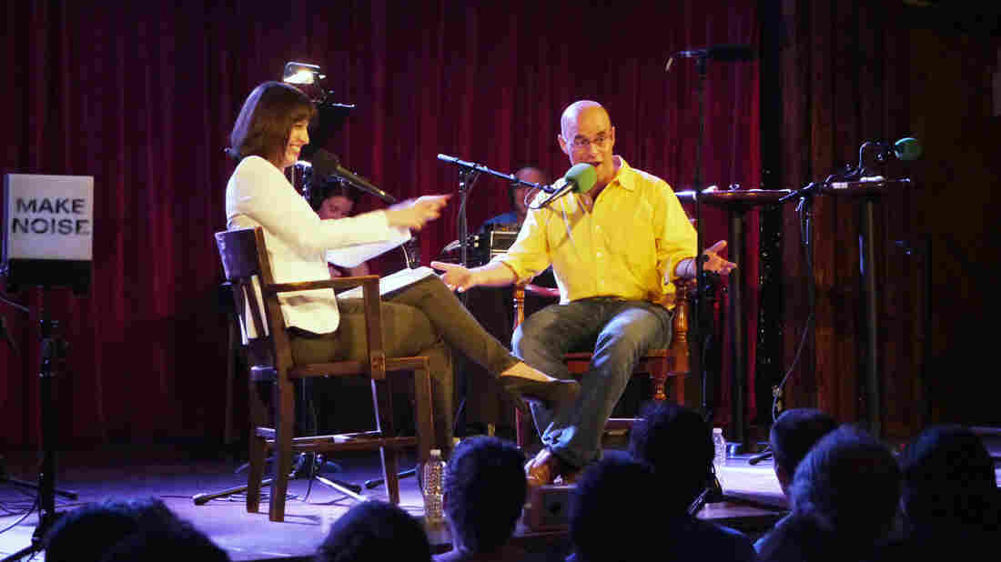 Ask Me Another host Ophira Eisenberg chats with Wait, Wait...Don't Tell Me! host Peter Sagal onstage at The Bell House in Brooklyn, N.Y., about how to host the perfect public radio game show.