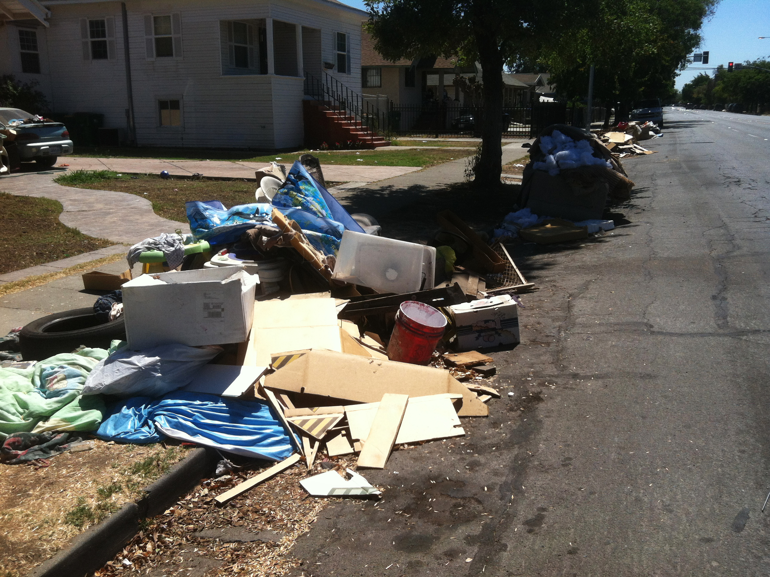 Along California Street, residents complain that piles of trash have been sitting uncollected for the better part of two weeks.