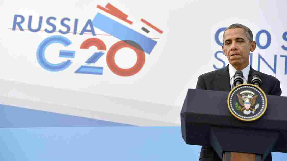 President Obama holds a press conference in St. Petersburg, Russia, on Friday on the sideline of the G-20 summit.
