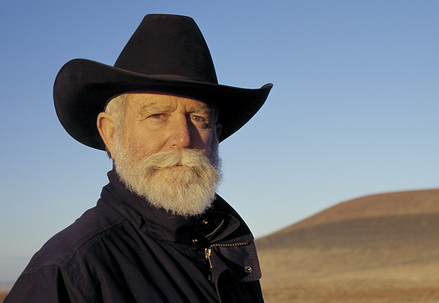 James Turrell in front of the Roden Crater Project in October 2001.