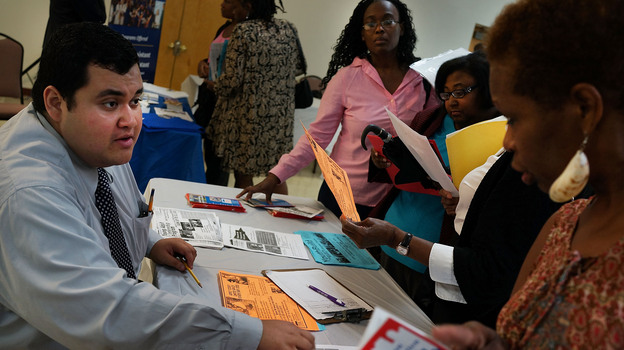 """The scene last month at a """"Beyond the Dream"""" job fair in Brooklyn, N.Y. Data on the month's job growth and unemployment rate are due Friday morning. (Getty Images)"""