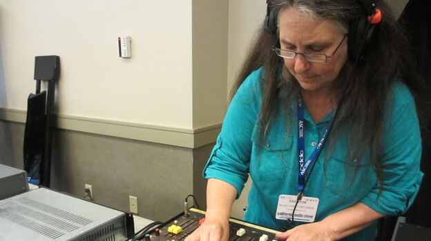 Cookie Marenco records musicians on a small remote recording console live at the California Audio Show in August. She'll demonstrate the quality of DSD to the audience by playing back her recording. How close will it sound to the live performance? Very close, according to people present. (Cindy Carpien)