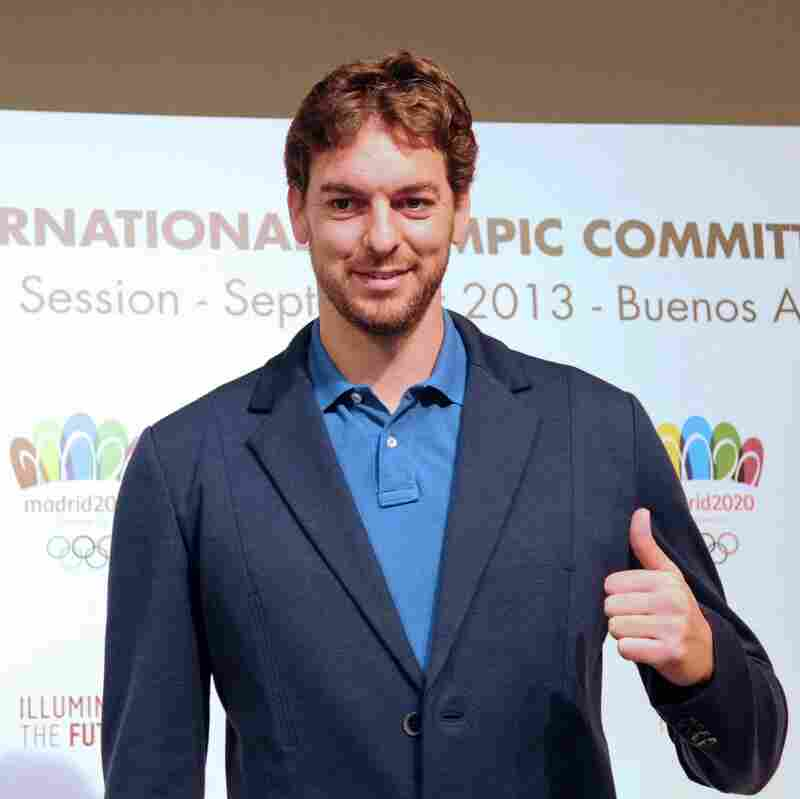 Spanish basketball player Pau Gasol poses during a news conference held in Buenos Aires on Thursday to promote Madrid as host city for the 2020 Olympic Games.
