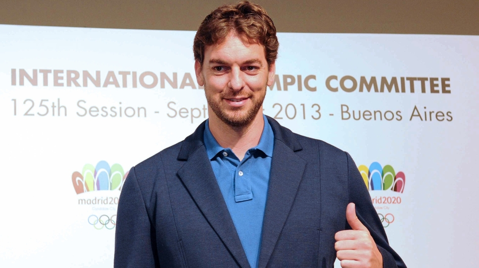 Spanish basketball player Pau Gasol poses during a news conference held in Buenos Aires on Thursday to promote Madrid as host city for the 2020 Olympic Games. (AFP/Getty Images)