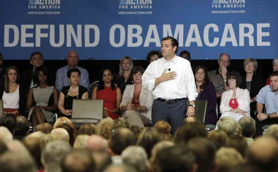Sen. Ted Cruz (R-Texas) speaks during a town hall meeting hosted by Heritage Action For America on Aug. 20 in Dallas. Cruz is staging events across Texas sharing his plan to defund President Obama's Affordable Care Act.