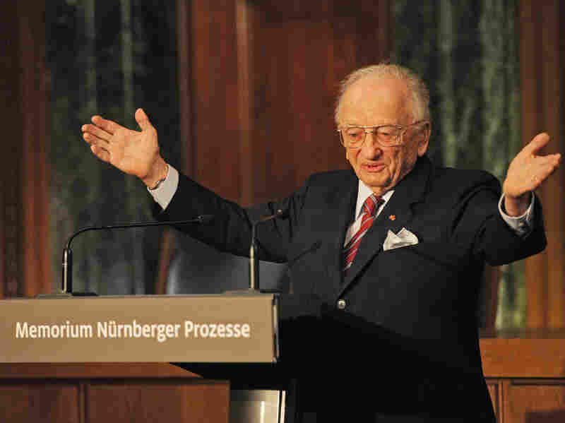"Benjamin Ferencz speaks at the inauguration of the ""Memorial Nuremberg Trials"" information and documentation center in Nuremberg, Germany, on Nov. 21, 2010. After World War II, Ferencz served as a chief prosecutor in the Nuremberg trials of Nazi war criminals."