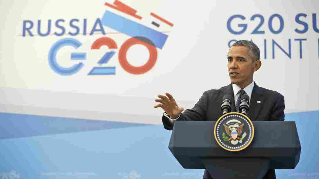President Obama answers a question regarding the situation in Syria during his news conference at the G-20 Summit in St. Petersburg, Russia, on Friday.