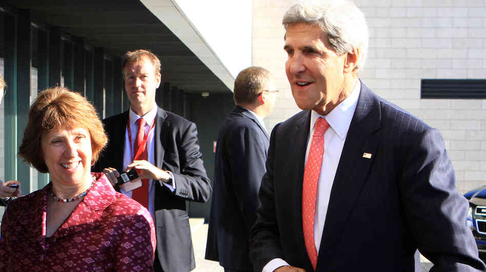 Secretary of State John Kerry urged European Union officials, including foreign policy chief Catherine Ashton, left,