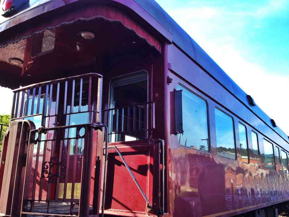 One of the nine restored train cars that are part of the Station to Station public art project. This car is called Lambert's Point Executive Lounge