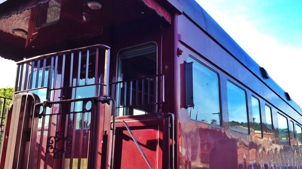 One of the nine restored train cars that are part of the Station to Station public art project. This car is called Lambert's Point Executive Lounge (NPR)
