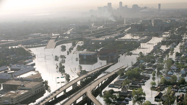 Floodwaters from Hurricane Katrina fill the streets near downtown New Orleans on Aug. 30, 2005.